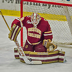 19 February 2016: Boston College Eagle Goaltender Thatcher Demko, a Junior from San Diego, CA, makes a first period save against the University of Vermont Catamounts at Gutterson Fieldhouse in Burlington, Vermont. The Eagles defeated the Catamounts 3-1 in the first game of their weekend series. Mandatory Credit: Ed Wolfstein Photo *** RAW (NEF) Image File Available ***