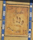 Hand print of the singer, Charles Aznavour, outside the Palais des Festivals et des Congres, Cannes, France.