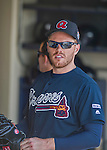14 March 2016: Atlanta Braves first baseman Freddie Freeman stands ready in the dugout prior to a Spring Training pre-season game against the Tampa Bay Rays at Champion Stadium in the ESPN Wide World of Sports Complex in Kissimmee, Florida. The Braves shut out the Rays 5-0 in Grapefruit League play. Mandatory Credit: Ed Wolfstein Photo *** RAW (NEF) Image File Available ***