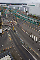 Empty roads into Glasgow International Airport after the ban on flights to and from Scottish airports has been reinstated over fears of the danger to aircraft from a cloud of volcanic ash..All non-emergency air traffic was grounded on Thursday because of the eruption in Iceland..Restrictions were lifted in Scotland as the cloud moved south on Friday..But air traffic control body Nats has restricted UK airspace until at least 0100 BST on Sunday. A small number of Scottish domestic flights may take off. .17 April 2010 Picture: Universal News And Sport (Europe)...