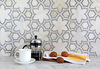 Reina, a natural stone waterjet mosaic shown in Cloud Nine and Ming Green polished marbles, is part of the Miraflores Collection by Paul Schatz for New Ravenna Mosaics. As seen in Elle Decor.