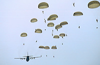 British Parachutists on 50th anniversary of Battle of Arnhem, Ginkel Heide, Netherlands.