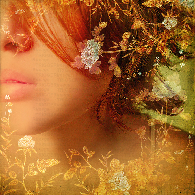 The face of a young woman overlaid with a floral design.