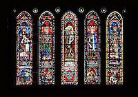 Five lancet windows, North Rose window, circa 1230, Chartres Cathedral, Eure et Loir, France Picture by Manuel Cohen