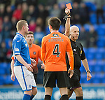 St Johnstone v Dundee United.....29.12.13   SPFL<br /> Ref Stephen Finnie sends off Calum Butcher<br /> Picture by Graeme Hart.<br /> Copyright Perthshire Picture Agency<br /> Tel: 01738 623350  Mobile: 07990 594431