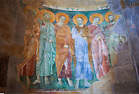 13th century Byzantine Roman style frescoes of the apostles on the apse wall of the Romanesque Basilica Church of Santa Maria Maggiore, Tuscania
