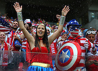 USA fans cheer their side on