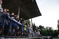Seattle, WA - Sunday, May 21, 2017: Seattle Reign FC fans during a regular season National Women's Soccer League (NWSL) match between the Seattle Reign FC and the Orlando Pride at Memorial Stadium.