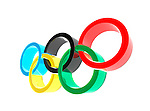 Olympic rings symbol isolated on white background 3D illustration