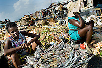 A Haitian woman sells dried fish in the La Saline market, Port-au-Prince, Haiti, 14 July 2008. Every day thousands of women from all over the city of Port-au-Prince try to resell supplies and food from questionable sources in the La Saline market. The informal sector significantly predominate within the poor Haitian economics and the regular shops virtually do not exist. La Saline is the largest street market area in Port-au-Prince.