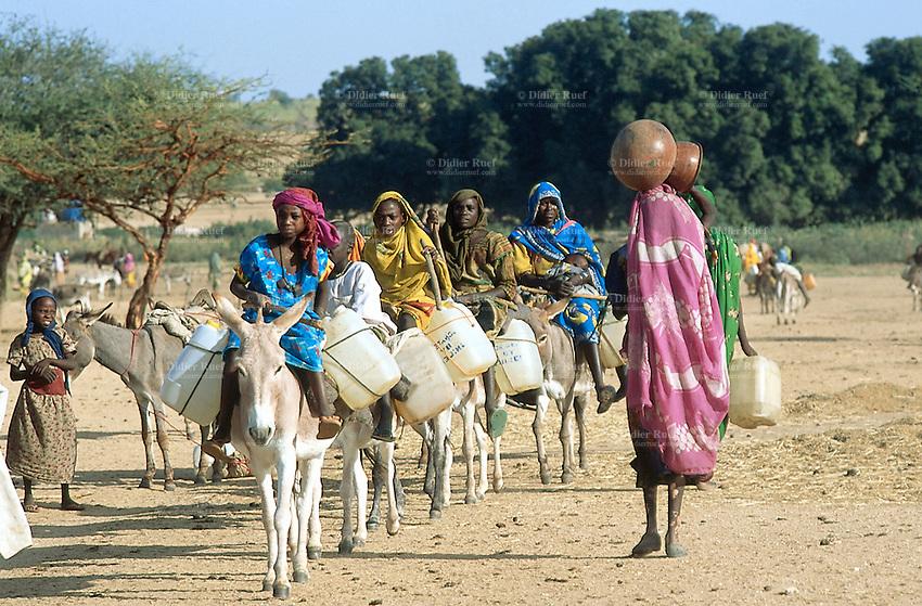 Sudan. West Darfur. Kerenek. A line of women wearing colorful veils ...