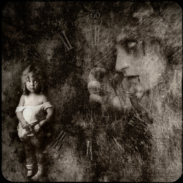 A small child is frightened by the lingering image from a nightmare.