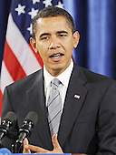Chicago, IL - December 17, 2008 -- United States President-elect Barack Obama answers questions at a news conference in the Drake Hotel in Chicago, Illinois, USA where he named former Iowa Governor Tom Vilsack as his choice for Secretary of Agriculture and United States Senator Ken Salazar (Democrat of Colorado) as Secretary of the Interior 17 December 2008. Obama continues to put together his cabinet as he prepares to take office 20 January 2009..Credit: Tannen Maury - Pool via CNP