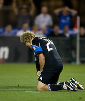 Steven Lenhart of Earthquakes reacts after missing a goal during the game against the WhiteCaps at Buck Shaw Stadium in Santa Clara, California on July 20th, 2011.  Earthquakes and WhiteCaps are tied 2-2 at the end of the game.