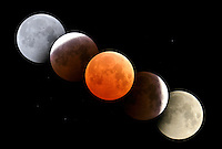 Composite digital image of total lunar eclipse, October 27, 2004, Alberta, Canada.