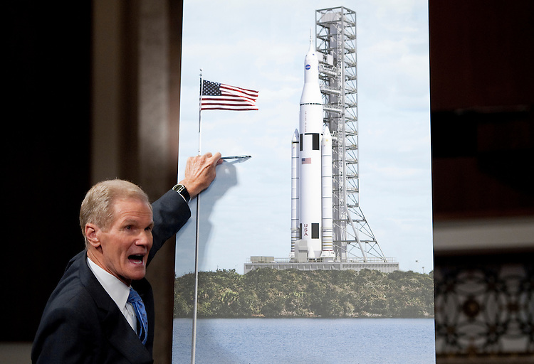 UNITED STATES - SEPTEMBER 14: Sen. Bill Nelson, D-Fla., speaks during the news conference to announce the design for the Space Launch System, NASA's next-generation rocket,  on Wednesday, Sept. 14, 2011. (Photo By Bill Clark/Roll Call)