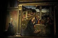 Chiesa Santa Maria Novella,Firenze. Church of Santa Maria Novella, Florence..Adorazione dei pastori del Ghirlandaio.Adoration of the Shepherds by Ghirlandaio.