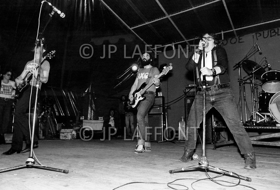 """Mont de Marsan, France. August 7th 1977.  Little Bob Story band performing at the first Congres """"Punk"""" at Mont De Marsan."""