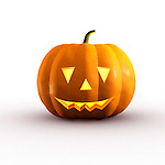 Halloween smiling jack-o-lantern conceptual 3D illustration on white