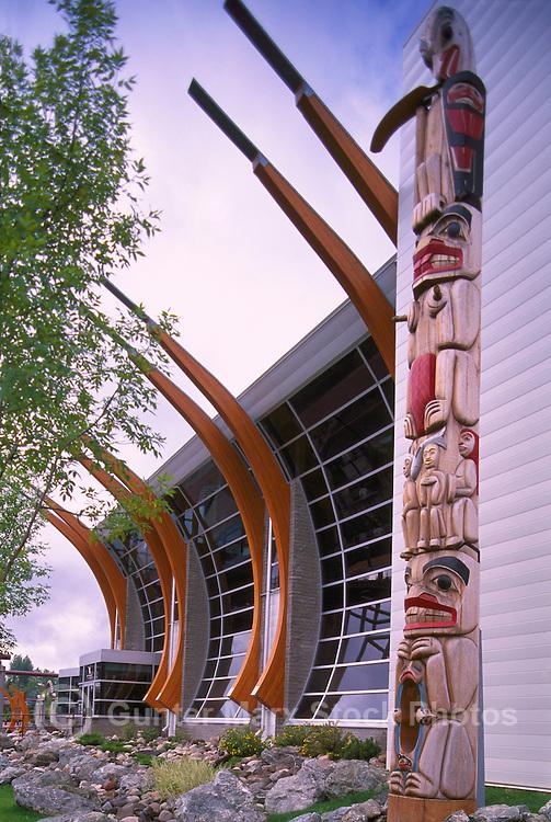 "Prince George, BC, British Columbia, Canada - ""Two Rivers"" Art Gallery and Gitksan (Gitxsan) Totem Pole"