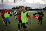 Bala Town 3 FC Differdange 4, 03/08/2015. Belle Vue, Europa League. Visiting captain Philippe Lebresne leading the celebrations on the pitch after the Europa League first qualifying round, second leg tie between Bala Town from Wales and FC Differdange 03 of Luxembourg. It was the Welsh club's second season of European competition, and due to ground regulations the match was played at nearby Belle Vue, home of Rhyl FC. The visitors won the tie 4-3 on aggregate due to a last-minute away goal by Omar Er Rafik, in a game watched by 1039 fans and progressed to play Turkish giants Trabzonspor in the next round. Photo by Colin McPherson.