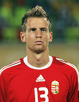 Hungary's Adrian Szekeres (13) stands on the field before the match against Italy during the FIFA Under 20 World Cup Quarter-final match at the Mubarak Stadium  in Suez, Egypt, on October 09, 2009. Hungary won 2-3 in overtime.