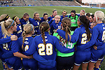14 November 2014: South Dakota State players form a circle around Madison Yueill (11) before the game. The University of North Carolina Tar Heels hosted the South Dakota State University Jackrabbits at Fetzer Field in Chapel Hill, NC in a 2014 NCAA Division I Women's Soccer Tournament First Round match. UNC won the game 2-0.