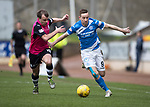 St Johnstone v Dundee&hellip;11.03.17     SPFL    McDiarmid Park<br />Steven MacLean fends off Paul McGowan<br />Picture by Graeme Hart.<br />Copyright Perthshire Picture Agency<br />Tel: 01738 623350  Mobile: 07990 594431