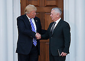 United States President-elect Donald Trump (L) shakes hands with General James N. Mattis, US Marine Corps, retired, (R) at the clubhouse of Trump International Golf Club, November 19, 2016 in Bedminster Township, New Jersey.  Gen. Mattis is rumored to be a strong candidate for Secretary of Defense in the incoming Trump Administration.<br /> Credit: Aude Guerrucci / Pool via CNP