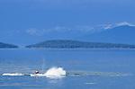 A jet ski rider making waves on Flathead Lake at Polson, Montana