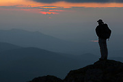 Appalachian Trail (Gulfside Trail) - A hiker enjoys the sunset from Mount Clay in the White Mountains, New Hampshire.