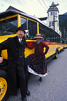 Skagway Street Car tour drivers dressed in clothing of the early gold rush days in Skagway, Alaska.