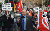 Members of the RMT Trade Union lobby Downing street to demand the nationalisation of the London Underground maintanance services previously held by the failed contracter Metronet. The company had become bankrupt. It had employed some 2,000 RMT members.