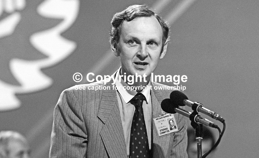 Paul Tyler PPC, prominent member, Liberal Party, UK, annual conference, September 1986. 19860920PT2<br />