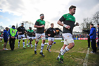 London Irish players make their way back to the changing rooms at the end of the pre-match warm-up. Aviva Premiership match, between Bath Rugby and London Irish on March 5, 2016 at the Recreation Ground in Bath, England. Photo by: Patrick Khachfe / Onside Images