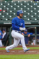Iowa Cubs outfielder Ryan Kalish (9) swings during a Pacific Coast League game against the Colorado Springs Sky Sox on May 1st, 2016 at Principal Park in Des Moines, Iowa.  Colorado Springs defeated Iowa 4-3. (Brad Krause/Four Seam Images)