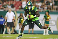 Tampa, FL - September 2, 2016: South Florida Bulls running back D'Ernest Johnson (2) scores a touchdown during game between Towson and USF at the Raymond James Stadium in Tampa, FL. September 2, 2016.  (Photo by Elliott Brown/Media Images International)