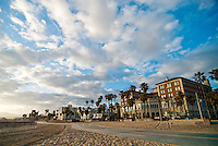 Santa Monica Beach Bike Path. Casa Del Mar, Shutters on the Beach and Sea Castle Apartments on Ocean Front Walk.