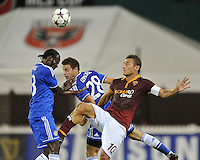 Victor Moses (13) of Chelsea FC heads the ball against Francesco Totti (10) of AS Roma.  Chelsea FC defeated AS Roma 2-1, during an international friendly , at RFK Stadium, Saturday August 10 , 2013.