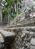 Detail of a carved skull, stairs and the rain forest in the distance, Ball Court, Coba Group, Late Classical Period Quintana Roo Mayan site, 600-900 AD, Coba, Mexico. Picture by Manuel Cohen