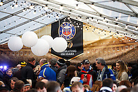 A general view of supporters enjoing the pre-match atmosphere in the Swift Half. European Rugby Champions Cup match, between Bath Rugby and Leinster Rugby on November 21, 2015 at the Recreation Ground in Bath, England. Photo by: Rogan Thomson / JMP for Onside Images