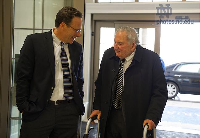 Nov. 12, 2013; Steve Reifenberg, Executive Director, Kellogg Institute for International Studies chats with David Rockefeller at the Morris Inn. Photo by Barbara Johnston/University of Notre Dame
