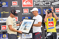 COOLANGATTA, Australia (Wednesday, Mar. 7, 2007) - MICK FANNING (AUS) has set the pace for the 2007 Foster's ASP World Tour today, winning the Quiksilver Pro Gold Coast presented by Samsung at his home break of Snapper Rocks for the second time in three years. Local dark horse BEDE DURBIDGE (AUS) was runner up in the event. FANNING not only won the 2007 Quiksilver Pro Gold Coast title, but also took the lead in the 2007 Foster's ASP World Title race. The contest  was the first event  on the 2007 Foster's ASP World Tour.   Photo: Joli