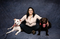 20 November 2011:  Marcella Bonnici with doggies Brady (7) and Lexi (6) in studio for photo session.