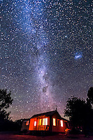 The southern sky Milky Way rising over Timor Cottage, Coonabarabran, Australia, December 2012. This is a single image with an untracked camera,  the Canon 60Da at ISO 3200 and 10-22mm lens at f/4 for 90 seconds.