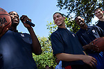 {June 27, 2012} {4:00pm} -- New York, NY, U.S.A.Duke basketball star Austin Rivers, center, reacts to Michael Kidd-Gilchrist as he answers a question alongside Harrison Barnes, right, and Tyler Zeller, far right, at the Dunlevy Milbank Boys & Girls Club in Harlem before the NBA draft Thursday in Manhattan, New York on June 27, 2012. .