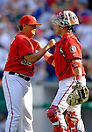 17 June 2006: Chad Cordero (left), pitcher for the Washington Nationals, celebrates victory with catcher Brian Schneider after closing out a game against the New York Yankees at RFK Stadium, in Washington, DC. The Nationals overcame a seven run deficit to win 11-9 in the second game of the interleague series...Mandatory Photo Credit: Ed Wolfstein Photo...