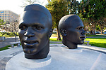 Statues of Jackie and Mack Robinson across from city hall in Pasadena, CA