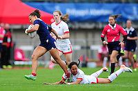 Joanna Sainlo of France runs in a first half try. FISU World University Championship Rugby Sevens Women's Cup Final between France and Canada on July 9, 2016 at the Swansea University International Sports Village in Swansea, Wales. Photo by: Patrick Khachfe / Onside Images