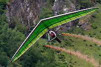 Hang glider near Gudvangen. The Extremesport Week, Ekstremsportveko, is the worlds largest gathering of adrenalin junkies. In the small town of Voss enthusiasts in a varitety of extreme sports come togheter every summer to compete and play.© Fredrik Naumann